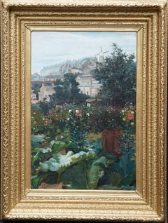 City Garden with Windmill Beyond - Scottish 19th century landscape oil painting