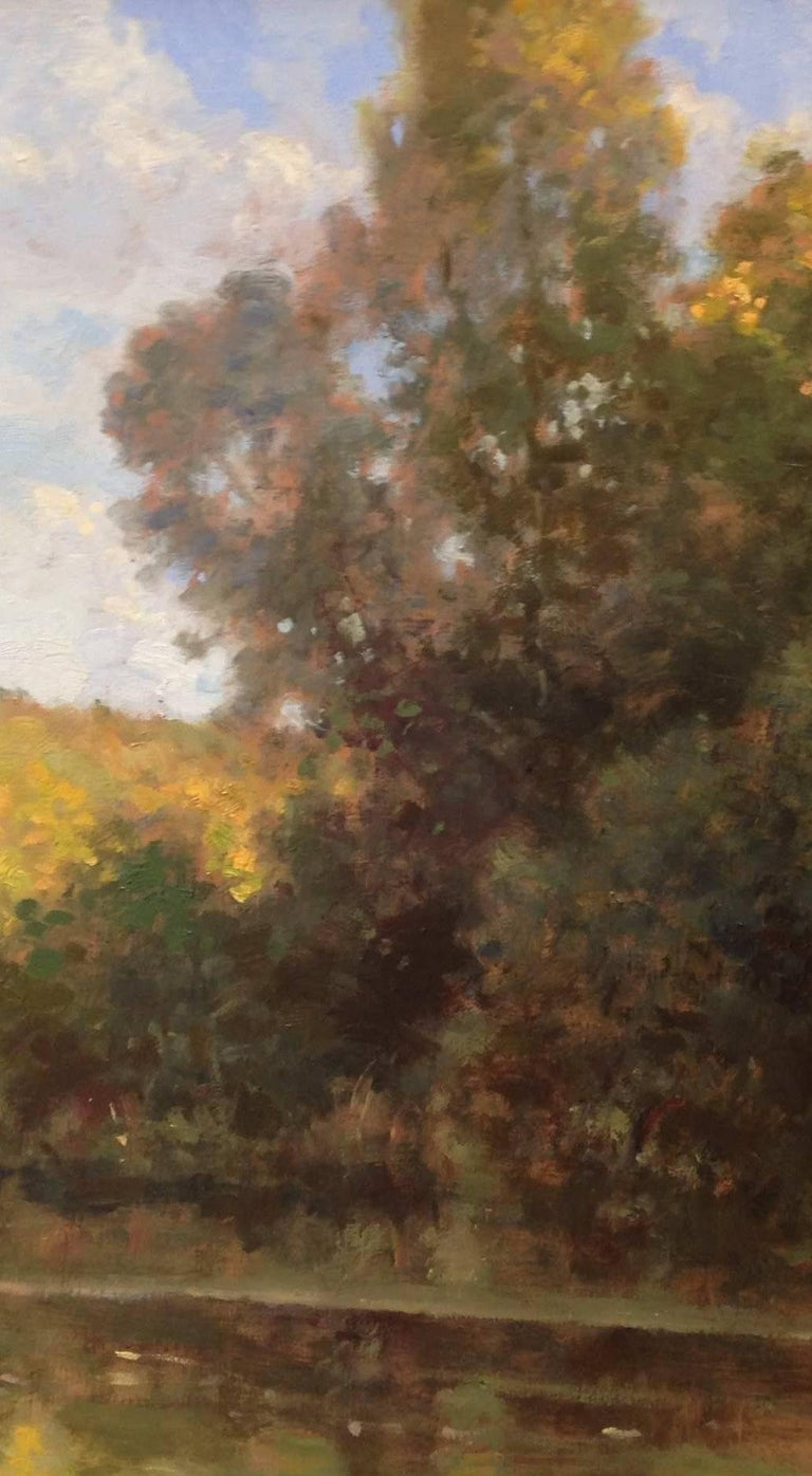 Bord d'étang, French landscape, Impressionist style - Painting by David Garcia