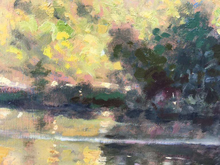 Bord d'étang, French landscape, Impressionist style - Brown Landscape Painting by David Garcia