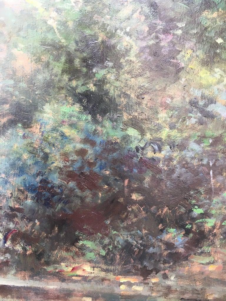Bord d'étang, French landscape, Impressionist style For Sale 1