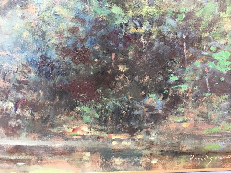 Bord d'étang, French landscape, Impressionist style For Sale 2