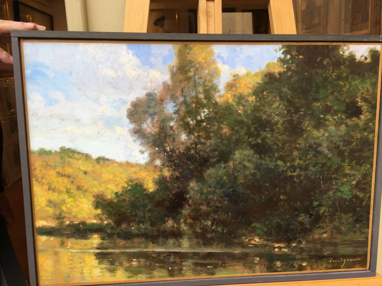 Bord d'étang, French landscape, Impressionist style For Sale 3