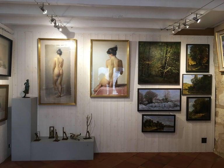 Bord d'étang, French landscape, Impressionist style For Sale 4