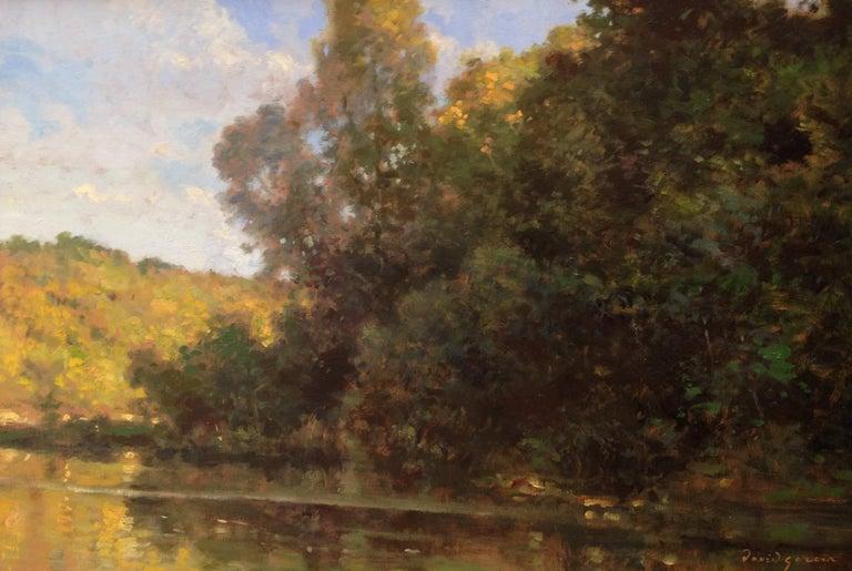 David Garcia Landscape Painting - Bord d'étang, French landscape, Impressionist style