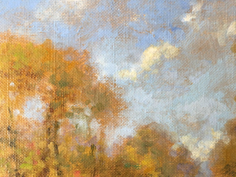 Chemin en automne, little oil on canvas, impressionist style - Painting by David Garcia