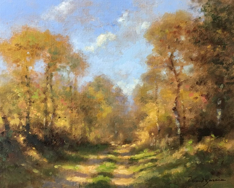 David Garcia Figurative Painting - Chemin en automne, little oil on canvas, impressionist style
