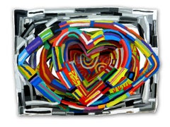 """""""Love in Your Eyes"""", 3D Hand-painted Metal Wall Sculpture"""
