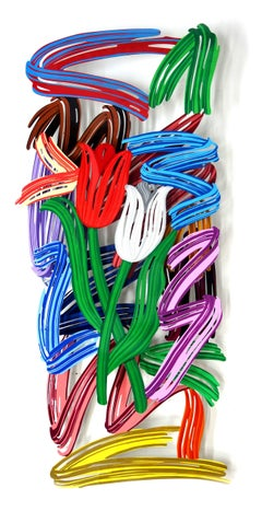 """""""Tulip Brush Strokes"""", 3D Hand-painted Metal Wall Sculpture"""