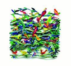 """Exotic Birds"", 3D Hand-painted Metal Wall Sculpture"