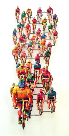 """Tour De France 2 Vertical"", 3D Hand-painted Metal Wall Sculpture"