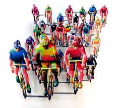 """Tour De France Frontal"", 3D Hand-painted Metal Wall Sculpture"