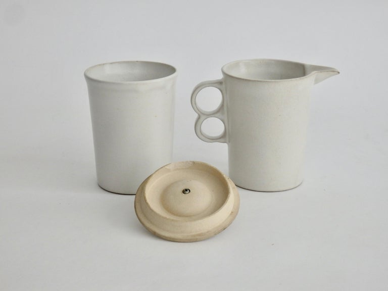 Mid-Century Modern David Gil Bennington Potters Modernist White Cream and Sugar Vessels