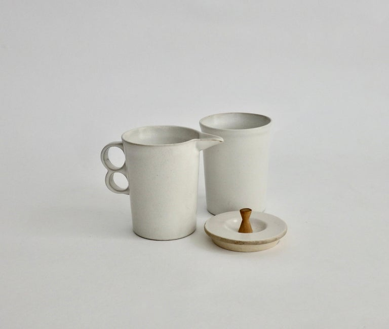 20th Century David Gil Bennington Potters Modernist White Cream and Sugar Vessels
