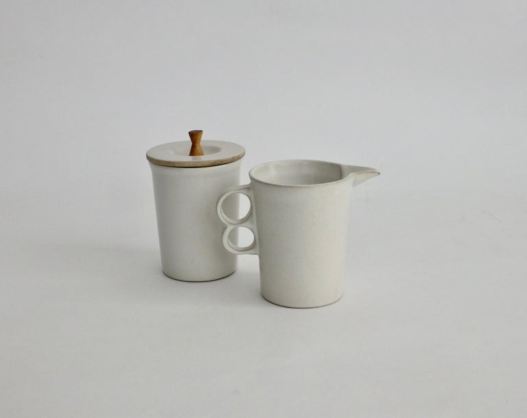 Pottery David Gil Bennington Potters Modernist White Cream and Sugar Vessels