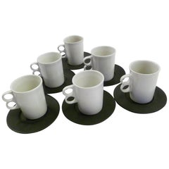 David Gil Bennington Potters Vermont Set 6 White Trigger Mugs 6 Black Saucers
