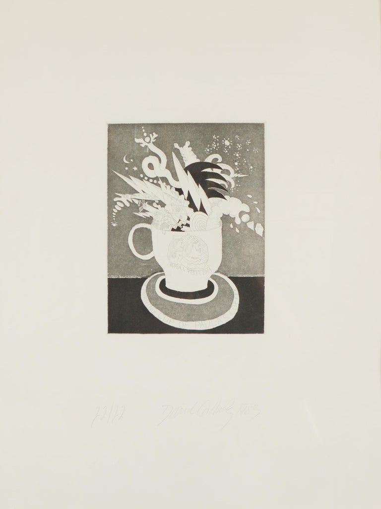 Print titled The First Morning Cup of Paula's Coffee by David Gilhooly (1943-2013). The print is dated 1983 and is numbered 12 / 12. This was published by 3EP Ltd. This was probably framed at the time the print was made. It has not been examined out