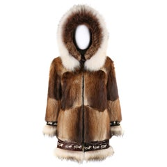 DAVID GREEN Genuine Fur Hooded Zip Front Alaskan Parka Coat