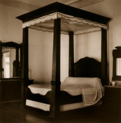 Bed (Sepia Toned Still Life Photo of Mahogany Canopy Bed with Lace Bedspread)