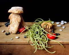 Bread House (Food Still Life Photograph of Bread, Vegetables & Stones)