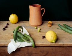 Ceramic Pitcher (Still Life Photograph of Lemons, Olives, Zucchini, & Chestnuts)