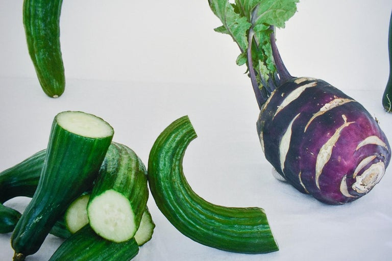 Cucumbers & Kohlrabi (Color Still Life Photograph of Purple & Green Vegetables)  5