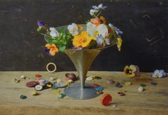 Flowers, Compote & Buttons (Color Still Life Photograph of Flowers on Tabletop)