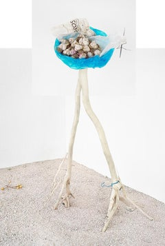 Garlic (Blue Bag): Framed Figurative Still Life Photograph on White