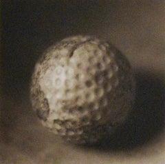 Golf Ball: Still Life Photograph of a White Golf Ball, Handmade Dark Wood Frame
