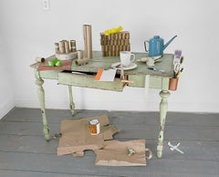 Green Table (Light Filled Still Life Photo w/ Oil Can & Tea Cup), Artist Frame