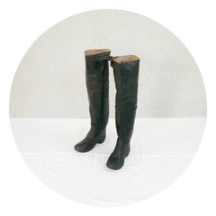 Hip Waders (Nautical Still Life Photo of Black Boots with Neutral Palette)
