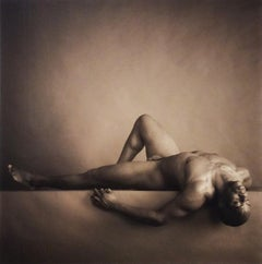 Male Nude on Back with Knee Up (Sepia Toned Figurative Photograph in Wood Frame)