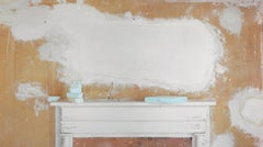Plaster Clouds (Still Life Photograph of Light Orange Wall with White Plaster)