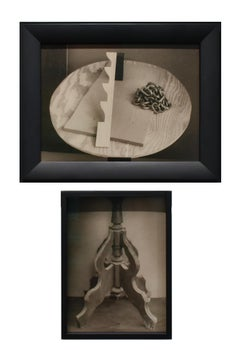 Side Table with Chain & Window Stay (Dadaist Diptych in Vintage Frame)