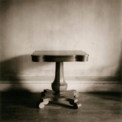 Square Table (Contemporary Sepia Toned Still Life Photograph of Antique Table)