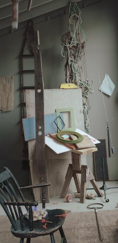 Studio Interior (Still Life Photograph of an Artist's Space in Blue and Greens)
