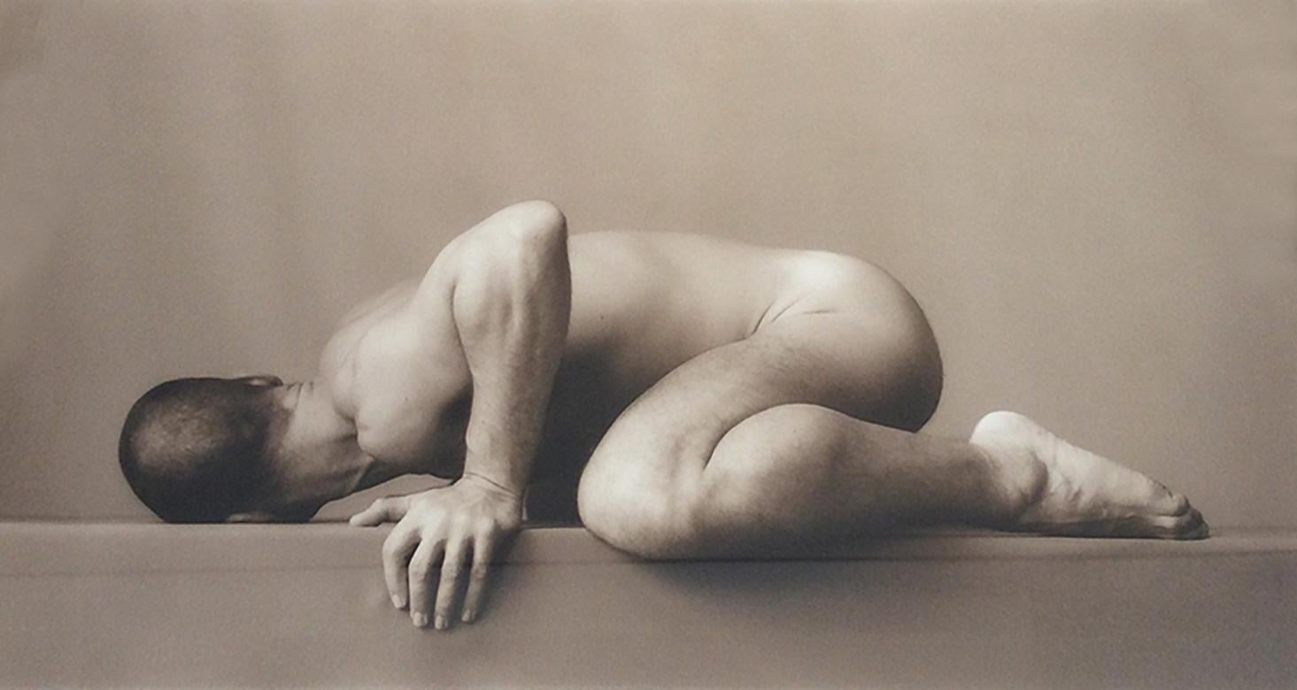 Winged: Sepia Toned Photograph of Male Nude Portrait by David Halliday, Framed