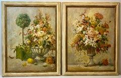 David Harris (American, 20th c.) Pair of Floral Still Life Paintings c.1970