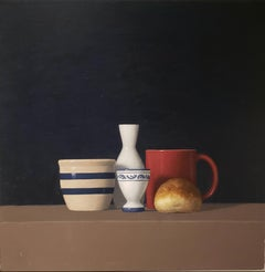 Roll w/ Four Objects , oil painting, American Realism, Realist Painter,24x24
