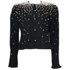 David Hayes Black Jacket w/ Pearls & Rhinestones Circa 1990s