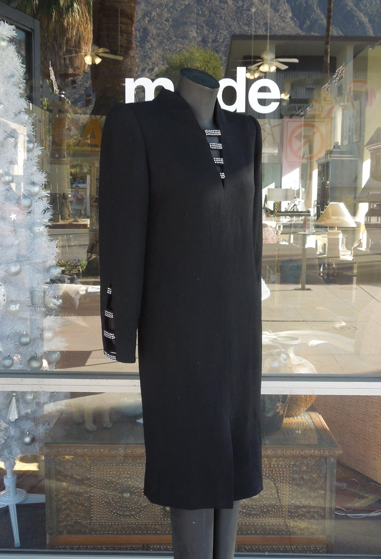 Late 20th Century David Hayes for Neiman Marcus Black Crepe Cocktail Dress with Rhinestones For Sale