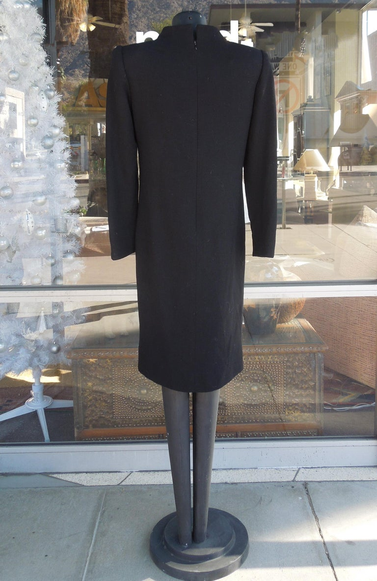Fabric David Hayes for Neiman Marcus Black Crepe Cocktail Dress with Rhinestones For Sale