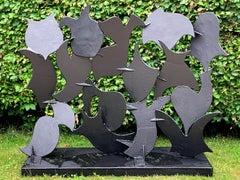 """""""Screen Sculpture #62"""", Abstract, Welded Steel, Outdoor Metal Sculpture"""