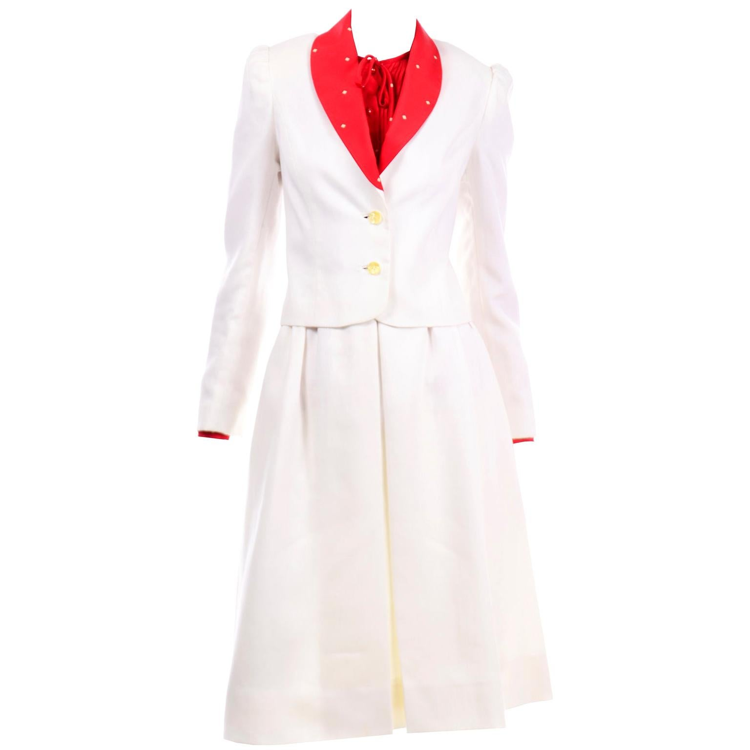 David Hayes Vintage Ivory Linen Skirt and Jacket Suit w Red & Yellow Silk Blouse