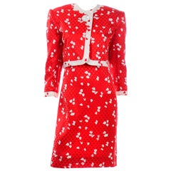 David Hayes Vintage Red & White Silk Abstract Print Dress & Cropped Jacket Suit