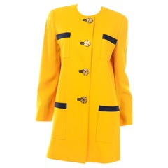 David Hayes Vintage Yellow Longline Blazer Jacket with Charcoal Grey Trim