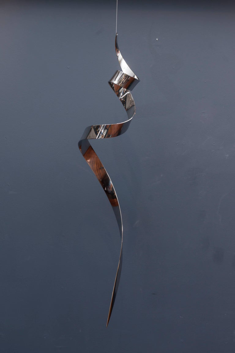 Contemporary hanging chrome sculpture