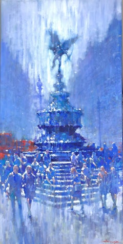 Under Eros, Piccadilly - impressionist blue London cityscape oil on canvas