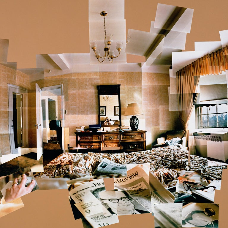 This Hockney photographic collage depicts the artist in his suite at the Mayflower Hotel while preparing designs for the sets and costumes of a French Triple Bill of opera and ballet at Lincoln Center, New York. Decorated in earth tones and shades
