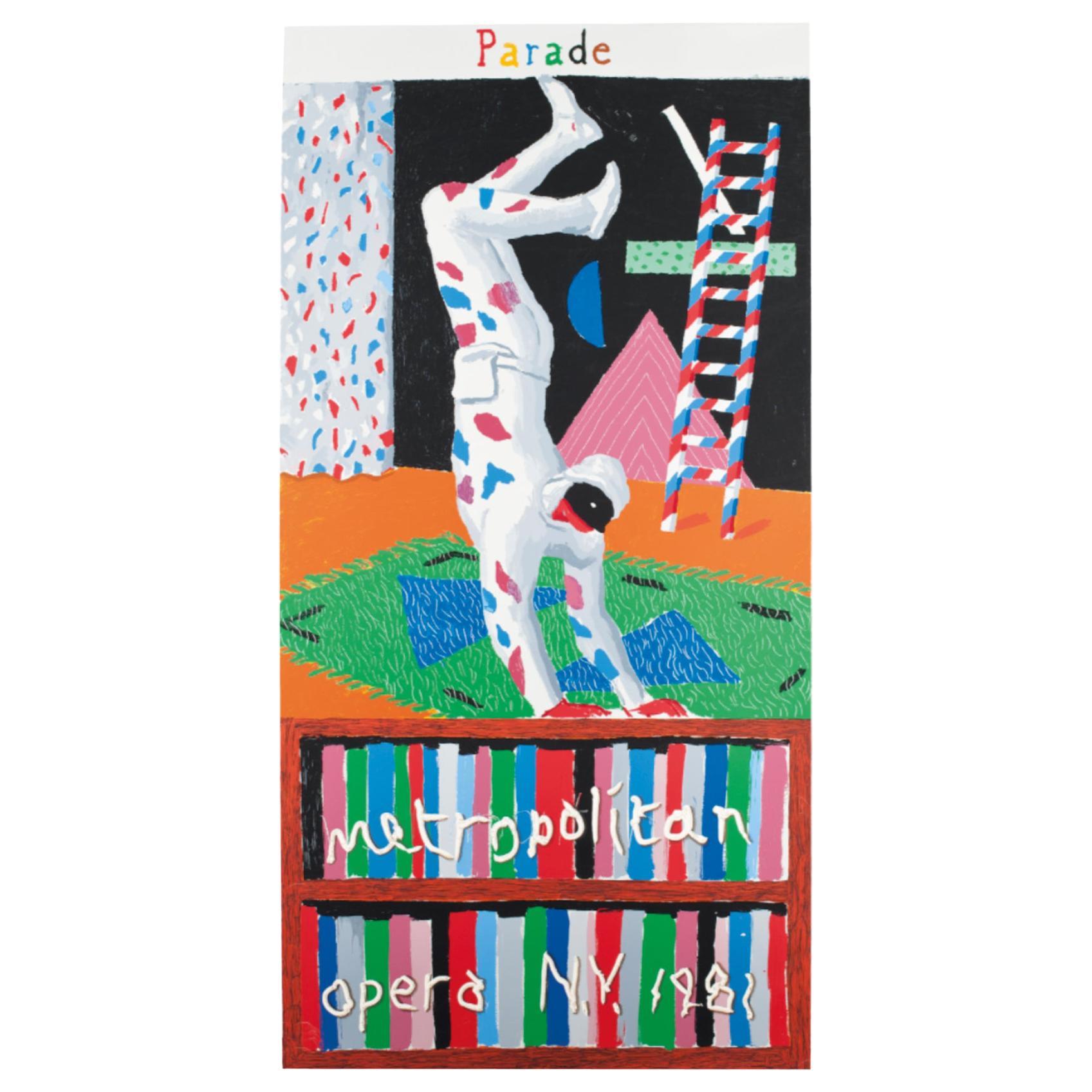David Hockney Original Vintage Poster 'Parade Metropolitan Opera New York 1981'
