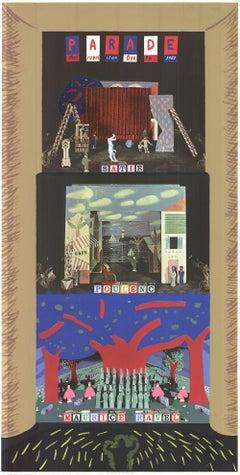 1982 David Hockney 'Parade- Metropolitan Opera' Pop Art Multicolor,Blue,Brown,Re